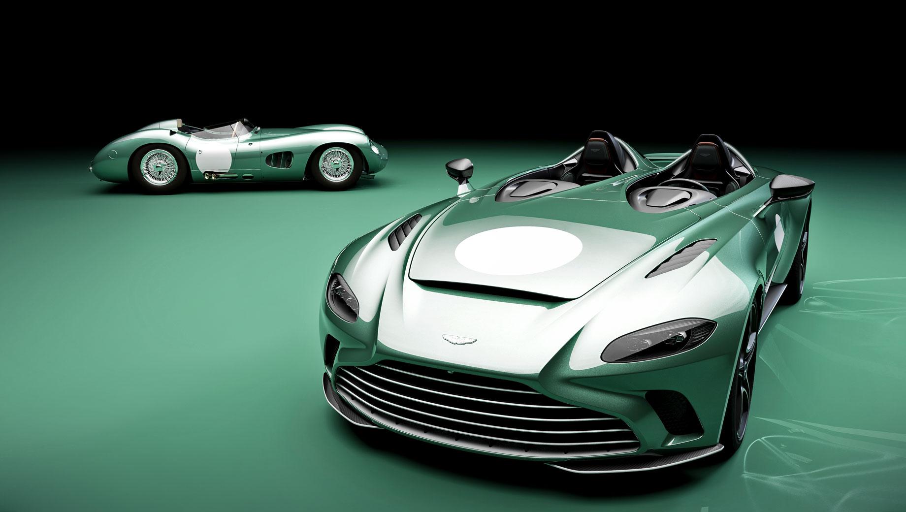Aston martin v12 speedster. Двухдверка DBR1 образца 1956 года построена в пяти экземплярах и считается самым успешным гоночным Астоном, ведь на её счету победы в Ле-Мане, Гудвуде и на Нюрбургринге. Рядная «шестёрка» объёмом 2992 «кубика» с пятиступенчатой «механикой» разгоняет DBR1 массой 801 кг до 241 км/ч.