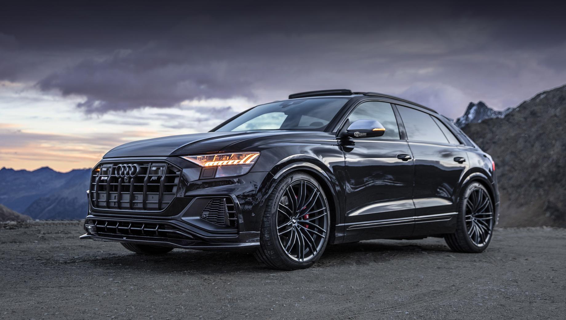 Audi sq8. Помимо форсировки, авторы модели приладили к ней новые сплиттер, диффузор и спойлер, поставили оригинальные колёсные диски.
