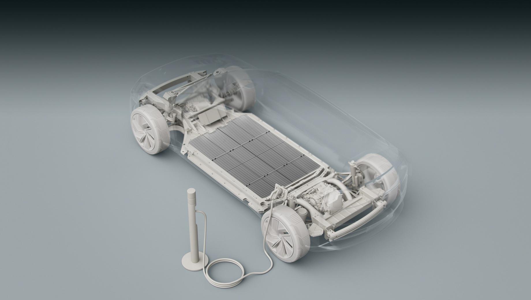 Volvo xc60. Перспективные Volvo, судя по эскизу, получат платформу, сразу оптимизированную под электропривод: посмотрите на огромную плоскую батарею и тяговые модули (электромотор плюс редуктор) на каждой из осей.